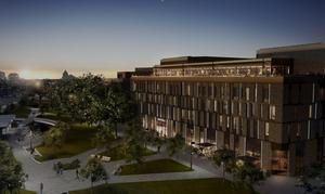 Om drygt två år kommer det nya hotellet att stå klart. Bild: Krook & Tjäder