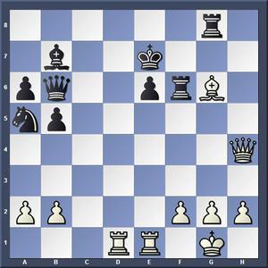 Lösning: 1.Db4+  Dd6 2.Dxd6.