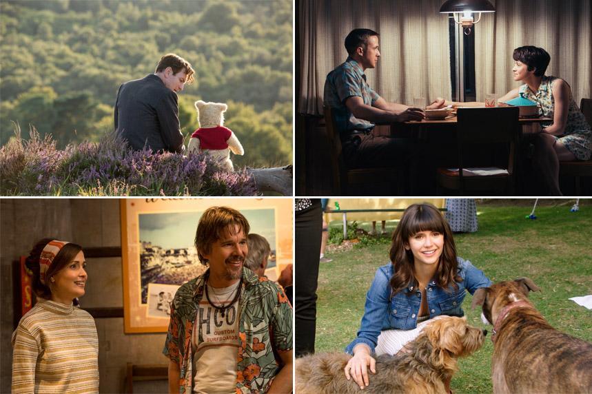 Längst upp till vänster: Christoffer Robin (Ewan McGregor) och Nalle Puh. Längst upp till höger: Neil (Ryan Gosling) och Janet (Claire Foy) Armstrong i
