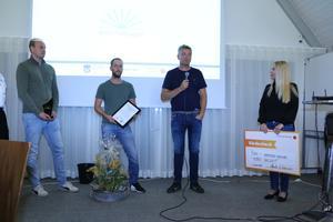 Anders Wigefjord, Patrik Elefelt och Björn Sahlqvist från Lekebergs Måleri & Entreprenad AB tillsammans med Hanna Jonasson från Företagarna Örebro-Värmland.