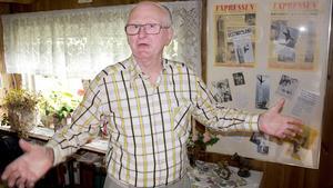 Scenvana. Han har stått på händer på fem uppstaplade stolar (undre bilden till höger), på ett finger (övre bilden till höger) och varit högst upp i Västerås Stadshustorn. Siegfried Hopp jobbade tidigare som professionell balanskonstnär.