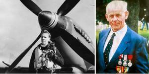 Till vänster: Tage Ståhlenberg; Royal Airforce, var en av de svenskar som gick ut i strid under andra världskriget. Här framför sin Spitfire 1945. Till höger:Allan Mann från Töreboda blev den mest dekorerade svensken under andra världskriget. Han fick flera höga utmärkelser. Foto: Privat