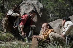 Jake Gyllenhaal, Joaquin Phoenix, John C Reilly och Riz Ahmed i manstunga western
