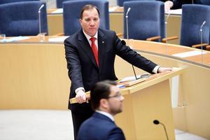 Stefan Löfven (S) och Jimmie Åkesson (SD) i en riksdagsdebatt. Foto: Henrik Montgomery / TT