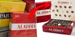 Aladdinasken får nu en ny design för åttonde gången. Bilden är ett montage. Foto: TT/Mondelēz AB