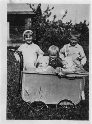 Gunlis och tvillingsystern Gunbritt i barnvagnen omgivna av syskonen Kerstin, Nils-Erik och Ingemar. Årtalet är 1939. Foto: Privat