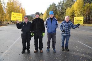 Laddade backhoppare från Sollefteå GIOF inför 28:e upplagan av Sollefteå Höstmarknad. Fr v Bert Sjödin, lars-Åke Jonsson, Sven Fors och Rolf Vikberg.
