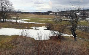 Utsikten över åkrarna mot öster är på väg att växla från vintervila till sommaraktivitet.