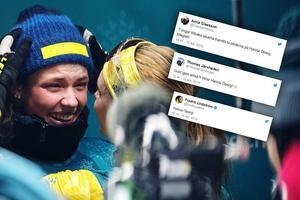 Hanna Öberg hyllas efter sitt sensationella OS-guld. Bild: Carl Sandin/Bildbyrån/Montage