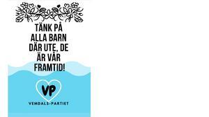 Valaffischen till vårt parti Vemdalspartiet, VP. Det vinnande bidraget vid vårt skolval vid Vemdalens skola.