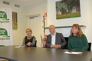 Vid presskonferensen i Ås presenterade Olof Wallgren i egenskap av nomineringskommitténs ordförande, både en ny kretsordförande, Ingrid Zakrisson, till vänster, och kommunalrådskandidaten Karin Jonsson.