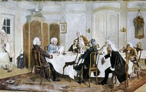 Den tyske upplysningsfilosofen Immanuel Kant tillsammans med vänner. Målning av Emil Doerstling från 1893.