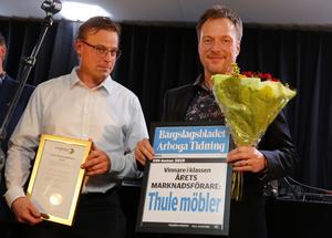 Årets marknadsförare. Thulemöbler med Lars Edin och Torbjörn Axelsson.
