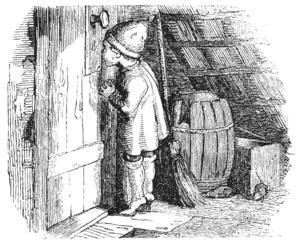 En tomte kikar in genom ett nyckelhål. Teckning av Vilhelm Petersen från 1853.