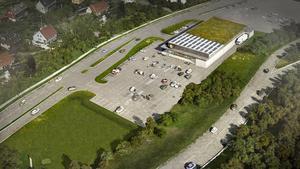 En skiss på hur Lidl vill bygga upp sin nya butik på marken där Northcar bedrev sin verksamhet. Bild: Pressbild