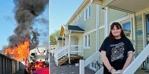 Frida Rönnbäck är en av dem som återvänt till radhusen som brann upp 5 maj 2017. Bild: Arkiv/ Roger Wallenius