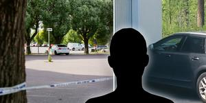 Mannen anlände i en personbil till Falu tingsrätt under fredagen.