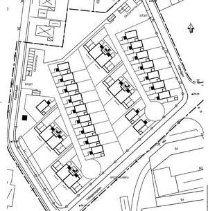 Skissen över bostadsområdet. Ännu finns inga tydligare illustrationer som visar hur det är tänkt att husen och området ska se ut. Tidigare skisser som VLT publicerat är inte giltiga längre eftersom en enplanhustyp har strukits.