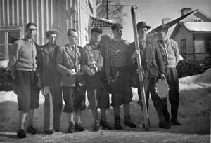 Från vänster: Erik Blomquist, Rune Hägglund, Börje Eriksson (lagledare) Erik Olsson, Olle Eriksson, Ivar Johansson, Holger Hansson