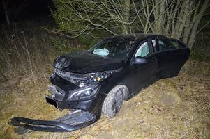 En av de inblandade bilarna körde av vägen och genom viltstängslet.