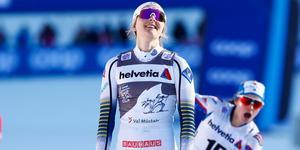 Stina Nilsson hade inte tur med skidorna när hon avslutade Tour de ski.