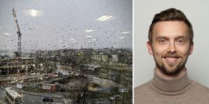 Lasse Rydqvist är meteorolog på vädertjänsten Stormgeo. Bilder: Maria Nordström/ST och Stormgeo