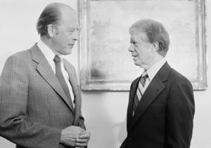 Odvar Nordli i samtal med Jimmy Carter, president i USA 1977 - 1981.Foto:  Harvey Georges/TT arkivbild