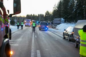 Tre hästekipage, en timmerbil och en personbil var inblandade i den allvarliga olyckan på E45 under torsdagseftermiddagen. Två personer omkom, sex personer skadades och en häst dog vid händelsen.