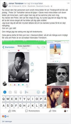 Johan Törnblom fick bra spridning när han delade uppdateringen på Facebook.