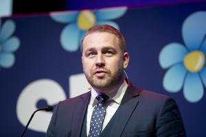 Sverigedemokraternas Mattias Karlsson talar att bli ett flexiblare parti. FOTO: Pavel Koubek/TT