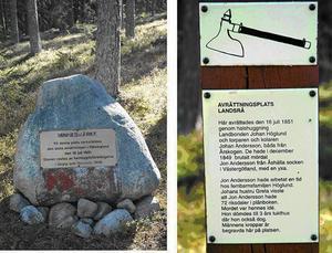 Njurunda och Gnarps hembygdsföreningar har rest en sten där avrättningsplatsen låg.