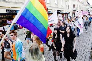 En bild från Prideparaden genom Östersund 2011. Foto: Mattias Pettersson