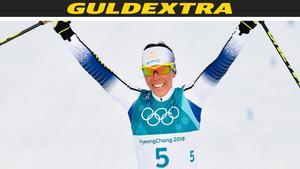 Charlotte Kalla mosade motståndarna och tog guld.