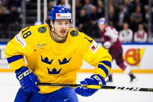 Dennis Everberg under hockey-vm i fjol. På tisdagen blev det klart att 27-åringen nästa säsong spelar i Rögle. Bild: Petter Arvidson/Bildbyrån.