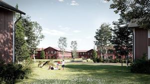 Visionsbild - vinkel från befintlig bebyggelse vid Mats Knuts väg. Observera att bilden är en vision på hur byggnationen kan komma att se ut. Illustration: Borlänge kommun