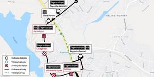 Karta över de avstängda busshållplatserna. Karta: Kollektivtrafikmyndigheten