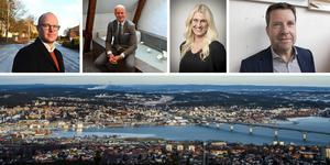 Olle Almqvist, Johan Ekman, Julia Berggren och Kent Selin kommenterar det nya marknadsläget i Sundsvall. Fotot är ett montage. Bild: ST / Pressbild