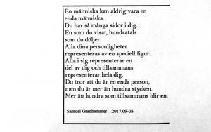 Flera av Samuel Granhammars dikter ingår också i utställningen.