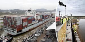 Den nya containerkajen är anpassad för att hantera fartyg som det på bilden och ännu större. Foto: Arnulfo Franco/Markus Boberg