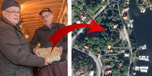 Gösta Nilsson och Sune Höglind berättar att stenarna hittades nära hembygdsgården i Nynäshamn.