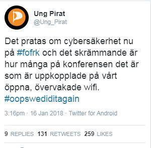 Skärmdump från Ung Pirats tweetkonto.