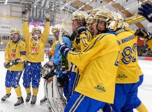 Sverige firar VM-guldet efter att ha vänt 1–3 till 4–3 mot Ryssland. En personlig triumf för Svenne Olsson. FOTO: Janerik Henriksson/TT