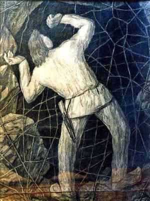 Kalevipoeg river ett jättelikt spindelnät för att kunna ta sig ner till helvetet. Målning av Kristjan Raud från 1935.