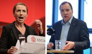 Socialdemokraternas partiledare i Danmark, Mette Frederiksen, och i Sverige, Stefan Löfven. Foto: Rene Schutze/AP Photo och Sören Andersson/TT