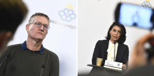 Anders Tegnell, statsepidemiolog och Taha Alexandersson, stf krisberedskapschef på Socialstyrelsen. Foto: Claudio Bresciani/TT