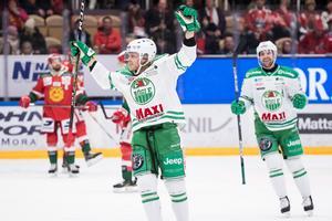Olle Liss, Dala-Flodas hetaste hockeylirare, satte 2–0 för Rögle. Han lär få lira i SHL med klubben nästa säsong också, om ha vill. Foto: Daniel Eriksson/Bidbyrån