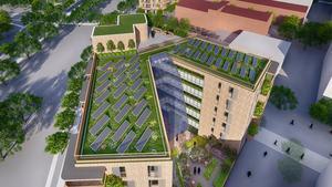 Sjuvåningshuset får solpaneler och sedumtak. Illustration: Pomeroy Studios