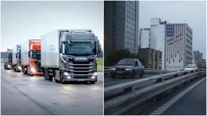 Foto: Mattias Holgersson / APTill vänster: Scania Platooning Konvo självkörande fordon. / Till höger:  Väggmålning i centrala Tehran, Iran, 8 maj 2018.