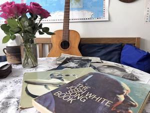 I ett kuvert har Ulla Norrie sparat bilder och artiklar om bluesartisten Josh White.