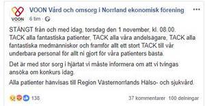 Vårdcentralen Voons inlägg på Facebook.